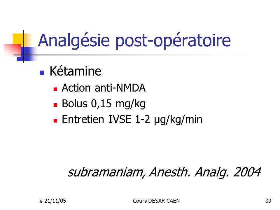 le 21/11/05Cours DESAR CAEN39 Analgésie post-opératoire Kétamine Action anti-NMDA Bolus 0,15 mg/kg Entretien IVSE 1-2 µg/kg/min subramaniam, Anesth. A