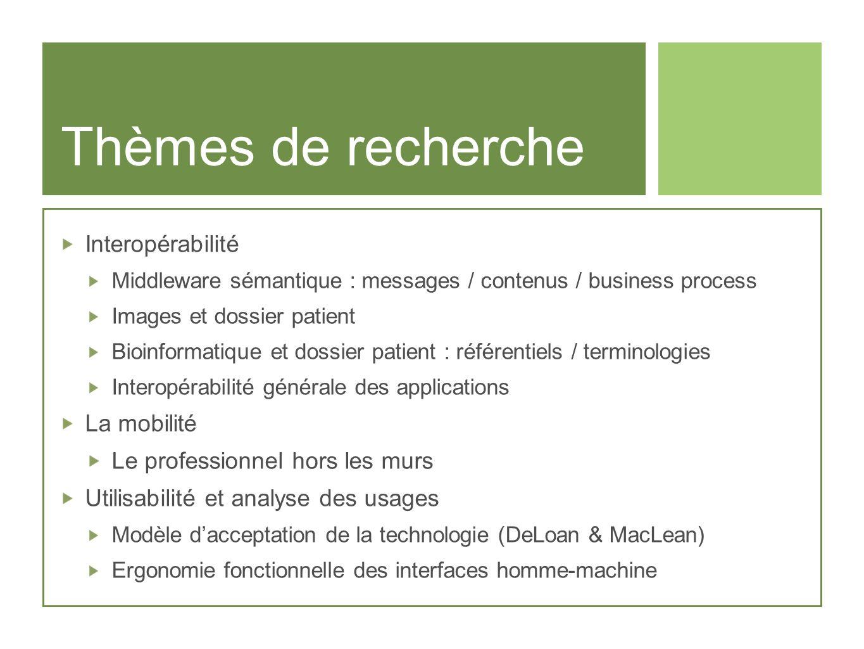 Thèmes de recherche Interopérabilité Middleware sémantique : messages / contenus / business process Images et dossier patient Bioinformatique et dossi