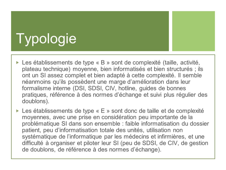 Typologie Les établissements de type « B » sont de complexité (taille, activité, plateau technique) moyenne, bien informatisés et bien structurés ; il
