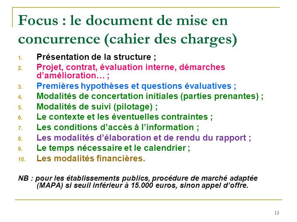 13 Focus : le document de mise en concurrence (cahier des charges) 1. Présentation de la structure ; 2. Projet, contrat, évaluation interne, démarches