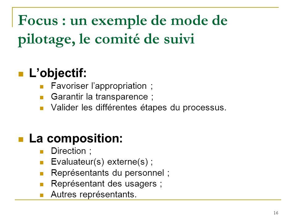 16 Focus : un exemple de mode de pilotage, le comité de suivi Lobjectif: Favoriser lappropriation ; Garantir la transparence ; Valider les différentes