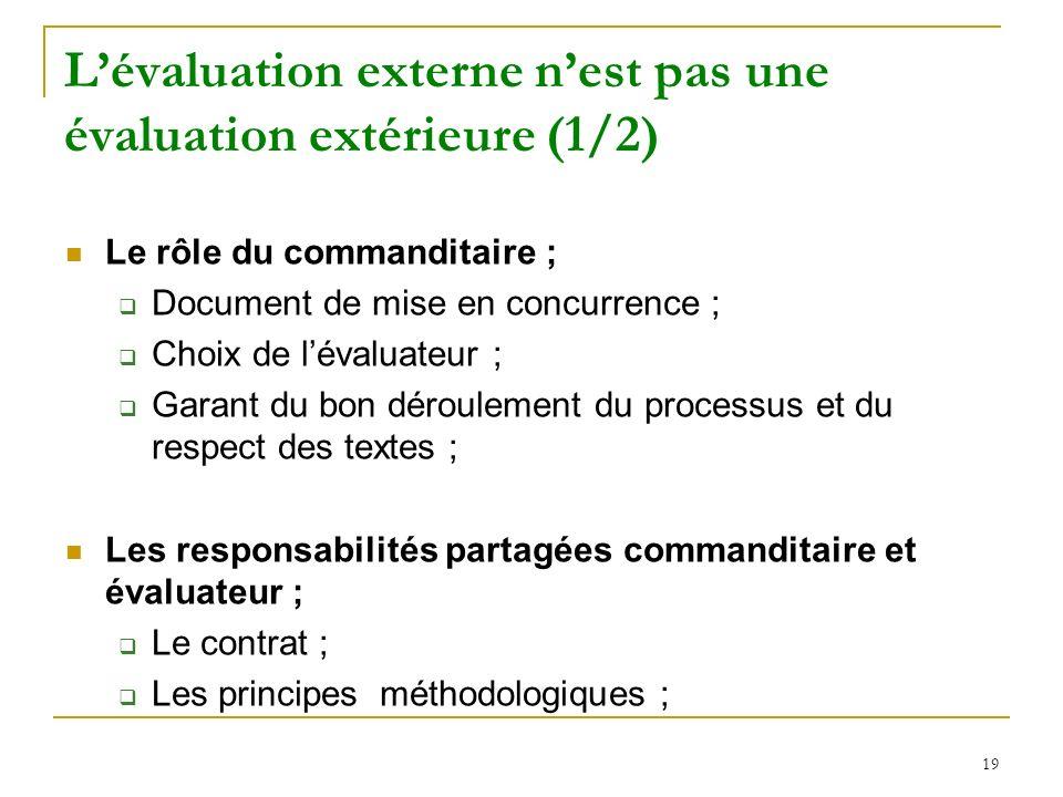 19 Lévaluation externe nest pas une évaluation extérieure (1/2) Le rôle du commanditaire ; Document de mise en concurrence ; Choix de lévaluateur ; Ga