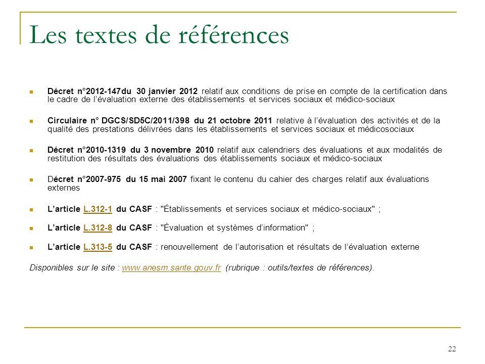 Les textes de références Décret n°2012-147du 30 janvier 2012 relatif aux conditions de prise en compte de la certification dans le cadre de lévaluatio