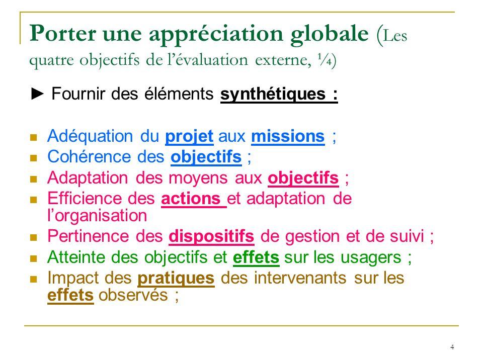 4 Porter une appréciation globale ( Les quatre objectifs de lévaluation externe, ¼) Fournir des éléments synthétiques : Adéquation du projet aux missi