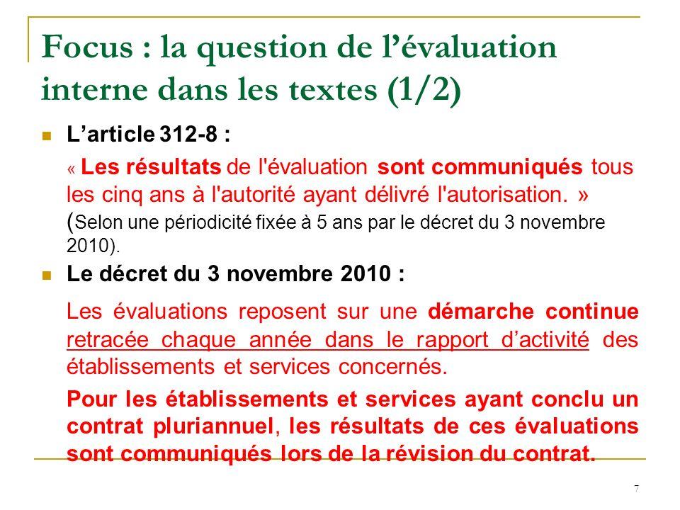 Focus : la question de lévaluation interne dans les textes (2/2) La circulaire du 21 octobre 2011 les ESSMS sont libres de choisir leurs outils dévaluation interne parmi ceux déjà existants, de les adapter ou même de les créer.