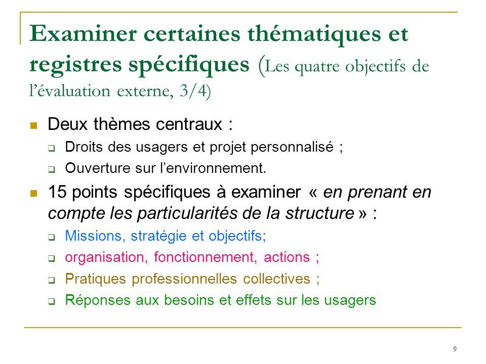 9 Examiner certaines thématiques et registres spécifiques ( Les quatre objectifs de lévaluation externe, 3/4) Deux thèmes centraux : Droits des usager