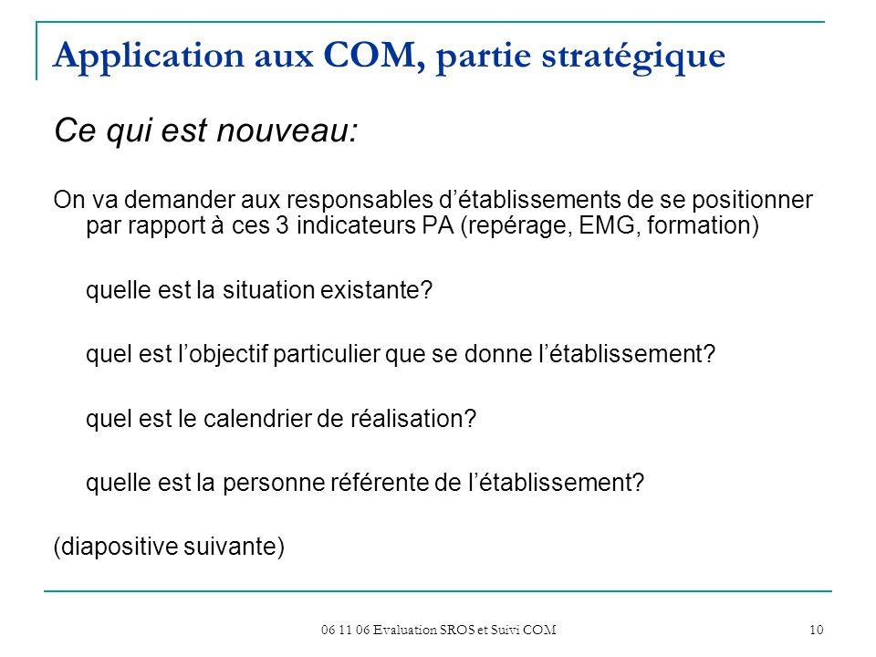 06 11 06 Evaluation SROS et Suivi COM 10 Application aux COM, partie stratégique Ce qui est nouveau: On va demander aux responsables détablissements d
