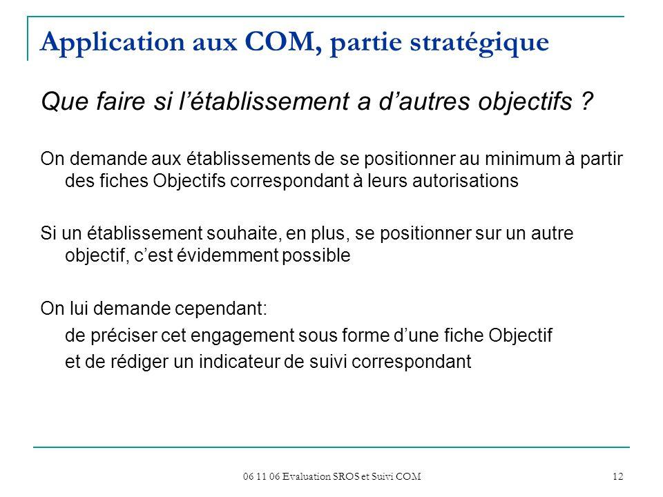 06 11 06 Evaluation SROS et Suivi COM 12 Application aux COM, partie stratégique Que faire si létablissement a dautres objectifs ? On demande aux étab
