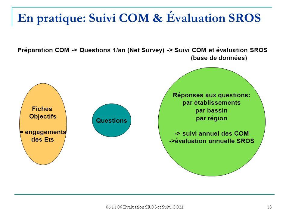 06 11 06 Evaluation SROS et Suivi COM 18 En pratique: Suivi COM & Évaluation SROS Préparation COM -> Questions 1/an (Net Survey) -> Suivi COM et évalu