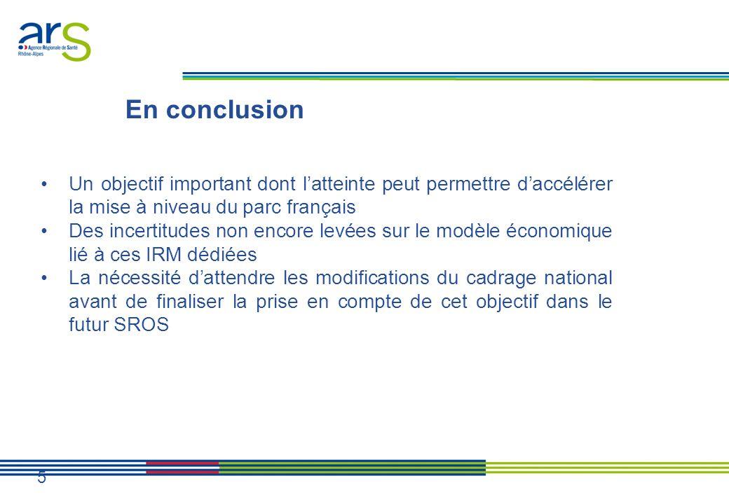 En conclusion Un objectif important dont latteinte peut permettre daccélérer la mise à niveau du parc français Des incertitudes non encore levées sur le modèle économique lié à ces IRM dédiées La nécessité dattendre les modifications du cadrage national avant de finaliser la prise en compte de cet objectif dans le futur SROS 5