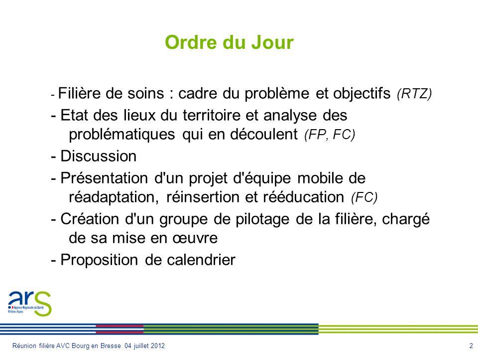 2Réunion filière AVC Bourg en Bresse 04 juillet 2012 Ordre du Jour - Filière de soins : cadre du problème et objectifs (RTZ) - Etat des lieux du terri