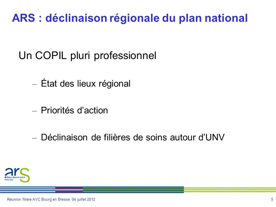 5Réunion filière AVC Bourg en Bresse 04 juillet 2012 ARS : déclinaison régionale du plan national Un COPIL pluri professionnel – État des lieux région