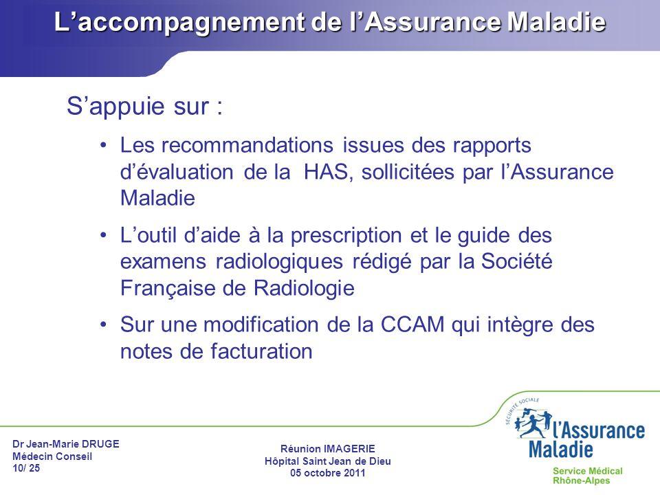 Dr Jean-Marie DRUGE Médecin Conseil 10/ 25 Réunion IMAGERIE Hôpital Saint Jean de Dieu 05 octobre 2011 Laccompagnement de lAssurance Maladie Sappuie s