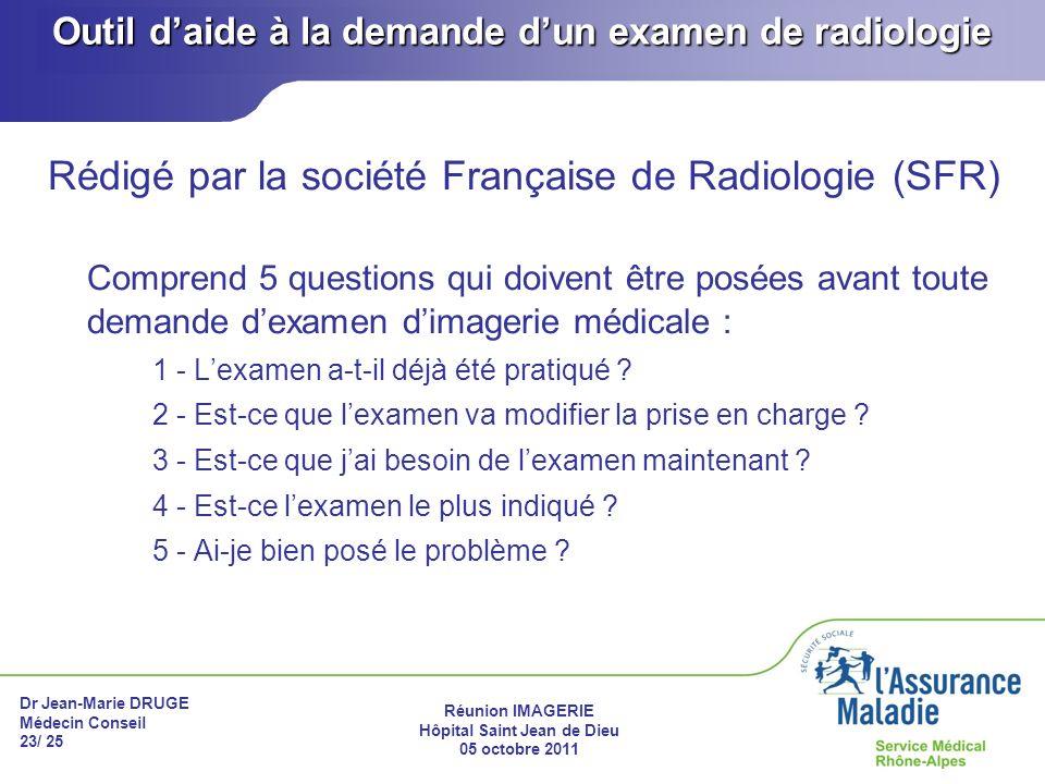 Dr Jean-Marie DRUGE Médecin Conseil 23/ 25 Réunion IMAGERIE Hôpital Saint Jean de Dieu 05 octobre 2011 Outil daide à la demande dun examen de radiolog