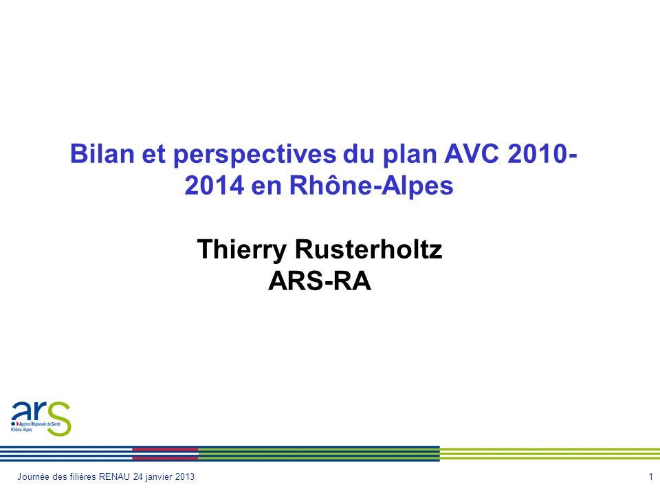 1Journée des filières RENAU 24 janvier 2013 Bilan et perspectives du plan AVC 2010- 2014 en Rhône-Alpes Thierry Rusterholtz ARS-RA