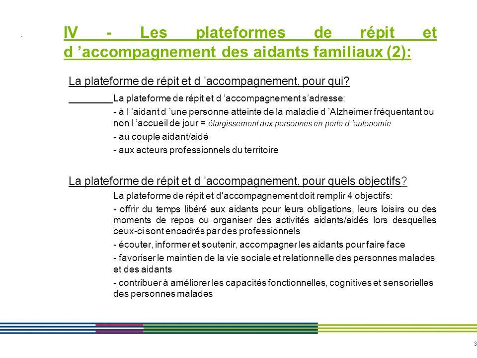 3 IV - Les plateformes de répit et d accompagnement des aidants familiaux (2): La plateforme de répit et d accompagnement, pour qui? La plateforme de