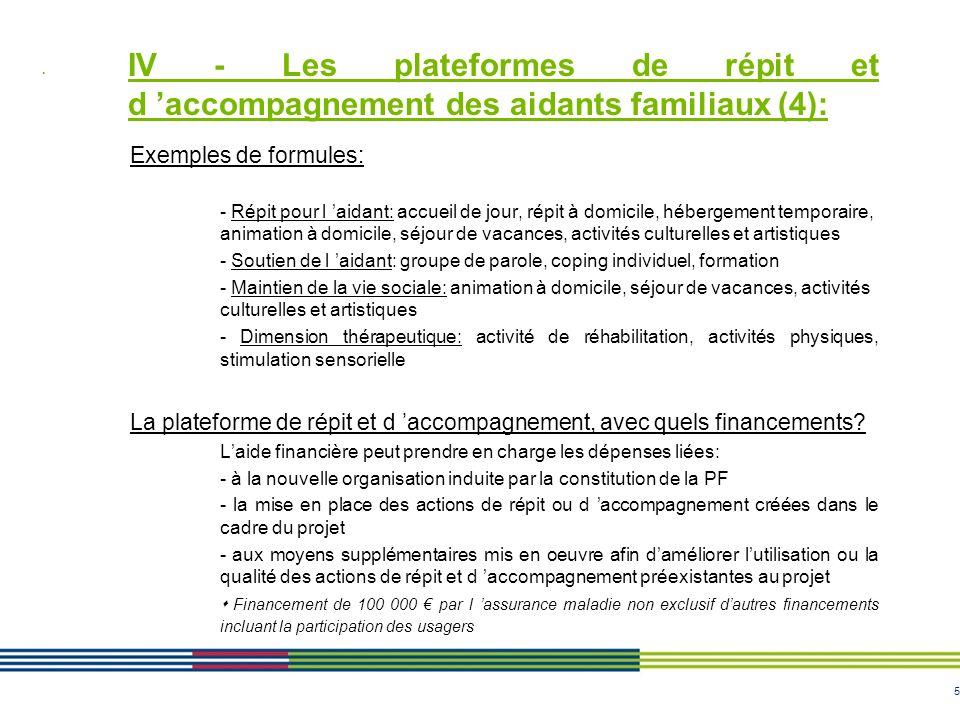 5 IV - Les plateformes de répit et d accompagnement des aidants familiaux (4): Exemples de formules: - Répit pour l aidant: accueil de jour, répit à d