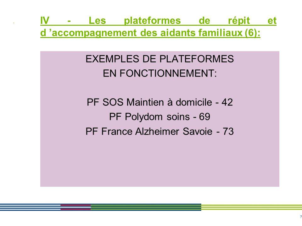7 IV - Les plateformes de répit et d accompagnement des aidants familiaux (6): EXEMPLES DE PLATEFORMES EN FONCTIONNEMENT: PF SOS Maintien à domicile -