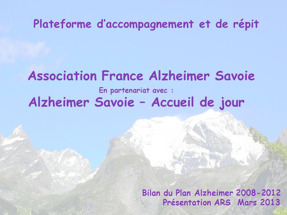 Association France Alzheimer Savoie En partenariat avec : Alzheimer Savoie – Accueil de jour Plateforme daccompagnement et de répit Bilan du Plan Alzh