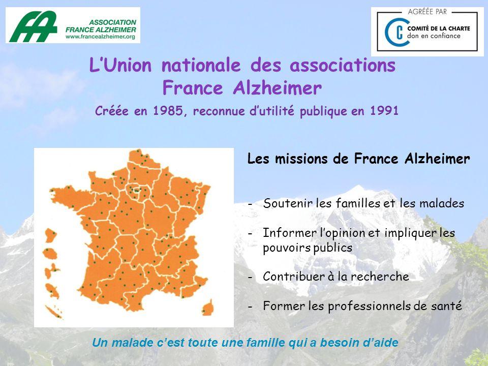 LUnion nationale des associations France Alzheimer Les missions de France Alzheimer -Soutenir les familles et les malades -Informer lopinion et impliq