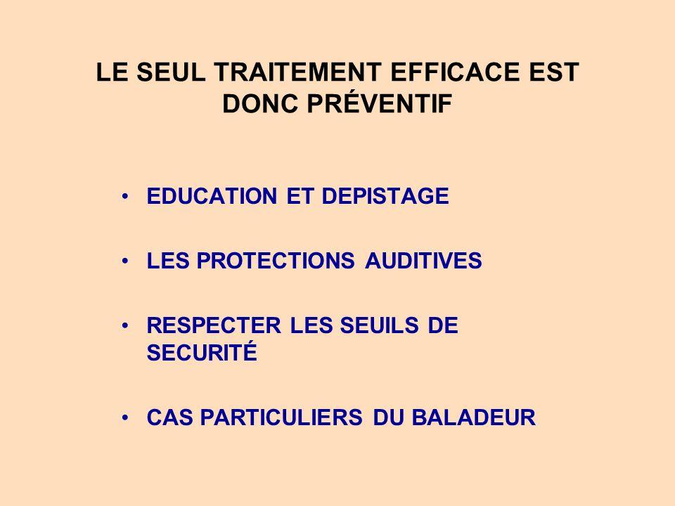 LE SEUL TRAITEMENT EFFICACE EST DONC PRÉVENTIF EDUCATION ET DEPISTAGE LES PROTECTIONS AUDITIVES RESPECTER LES SEUILS DE SECURITÉ CAS PARTICULIERS DU B