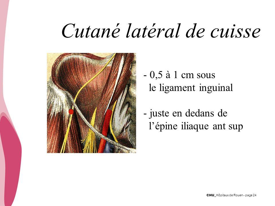CHU _Hôpitaux de Rouen - page 24 - 0,5 à 1 cm sous le ligament inguinal - juste en dedans de lépine iliaque ant sup Cutané latéral de cuisse