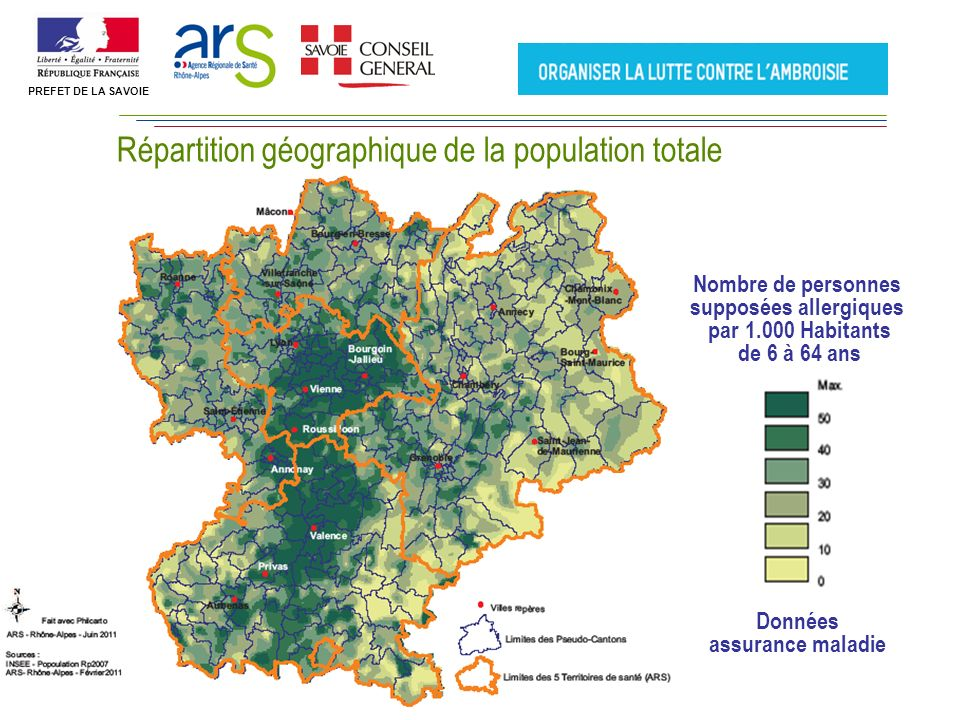 Nombre de personnes supposées allergiques par 1.000 Habitants de 6 à 64 ans Répartition géographique de la population totale Données assurance maladie PREFET DE LA SAVOIE