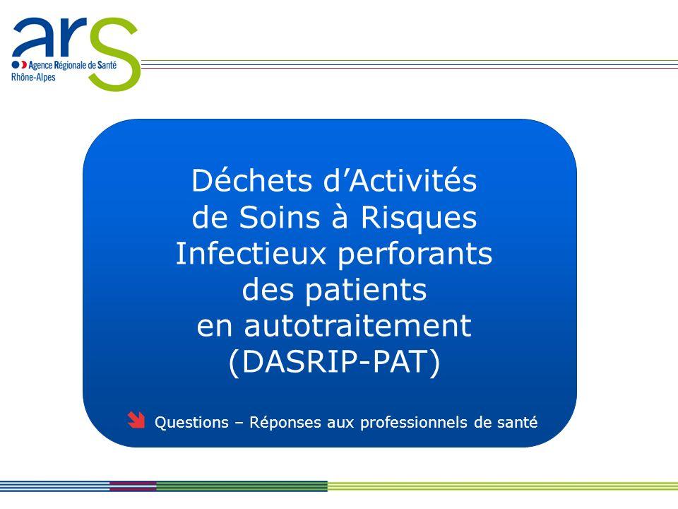Déchets dActivités de Soins à Risques Infectieux perforants des patients en autotraitement (DASRIP-PAT) Questions – Réponses aux professionnels de santé