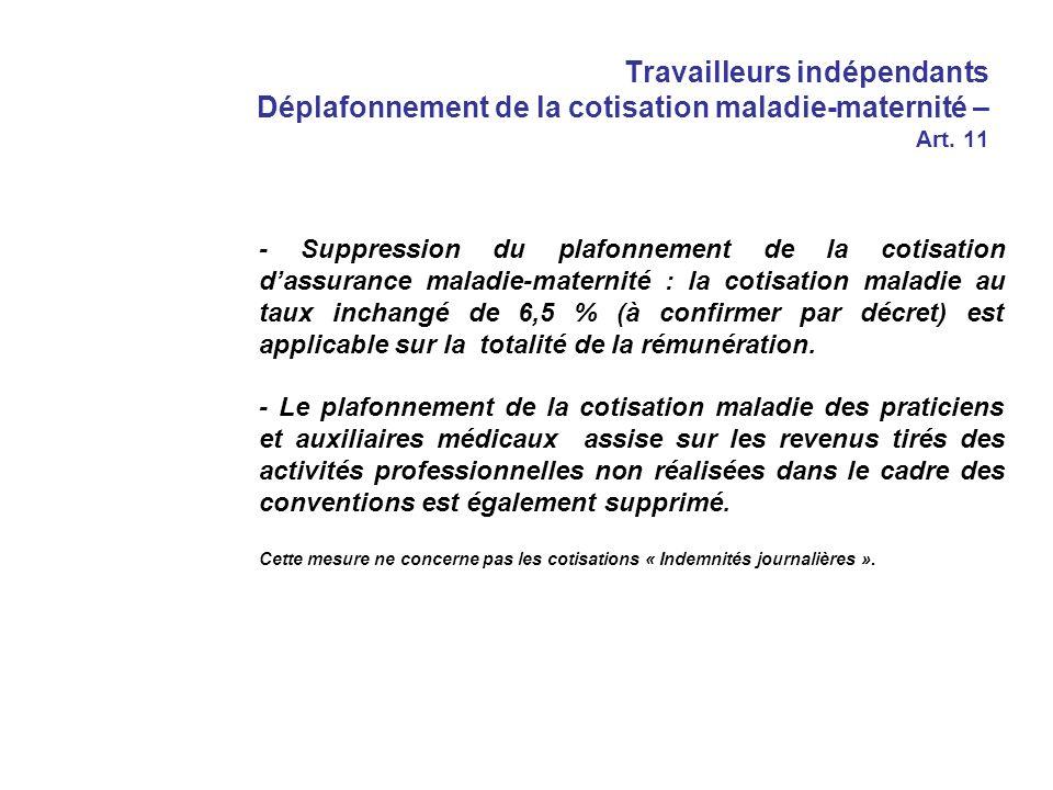 Travailleurs indépendants Déplafonnement de la cotisation maladie-maternité – Art.