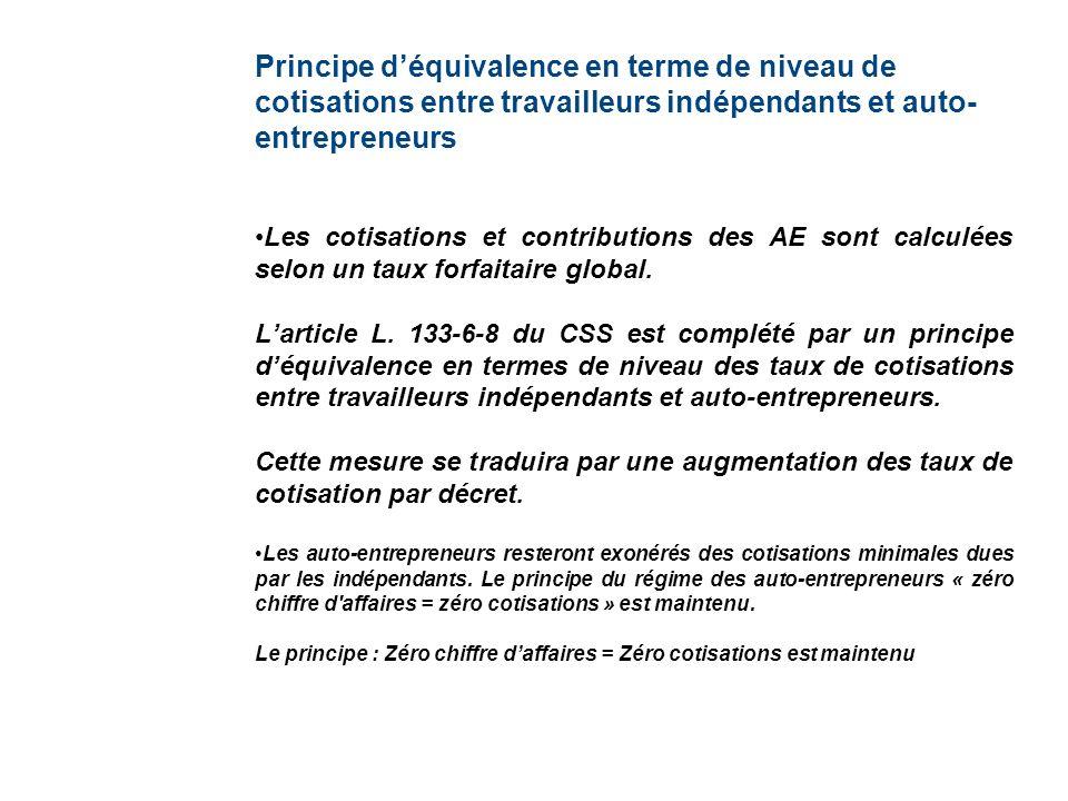 Principe déquivalence en terme de niveau de cotisations entre travailleurs indépendants et auto- entrepreneurs Les cotisations et contributions des AE sont calculées selon un taux forfaitaire global.