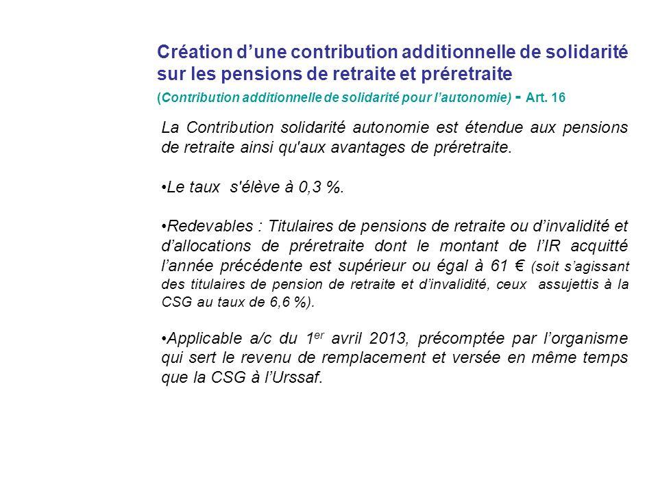 Création dune contribution additionnelle de solidarité sur les pensions de retraite et préretraite (Contribution additionnelle de solidarité pour lautonomie) - Art.