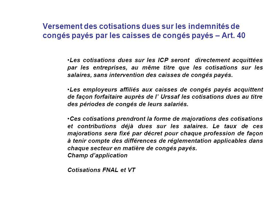 Versement des cotisations dues sur les indemnités de congés payés par les caisses de congés payés – Art.