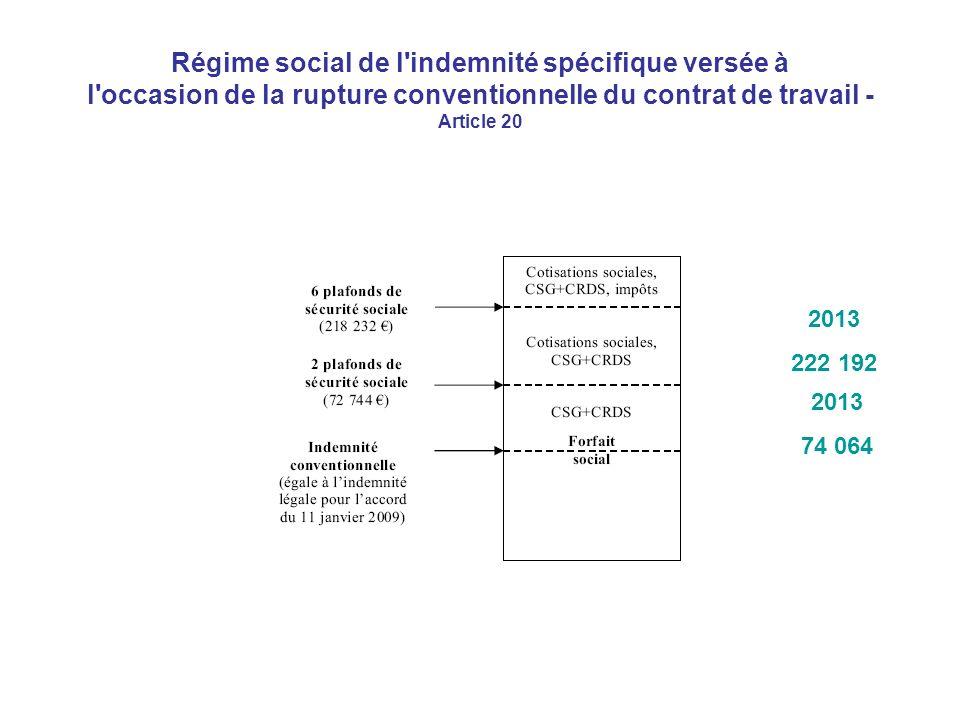 Régime social de l indemnité spécifique versée à l occasion de la rupture conventionnelle du contrat de travail - Article 20 2013 222 192 2013 74 064