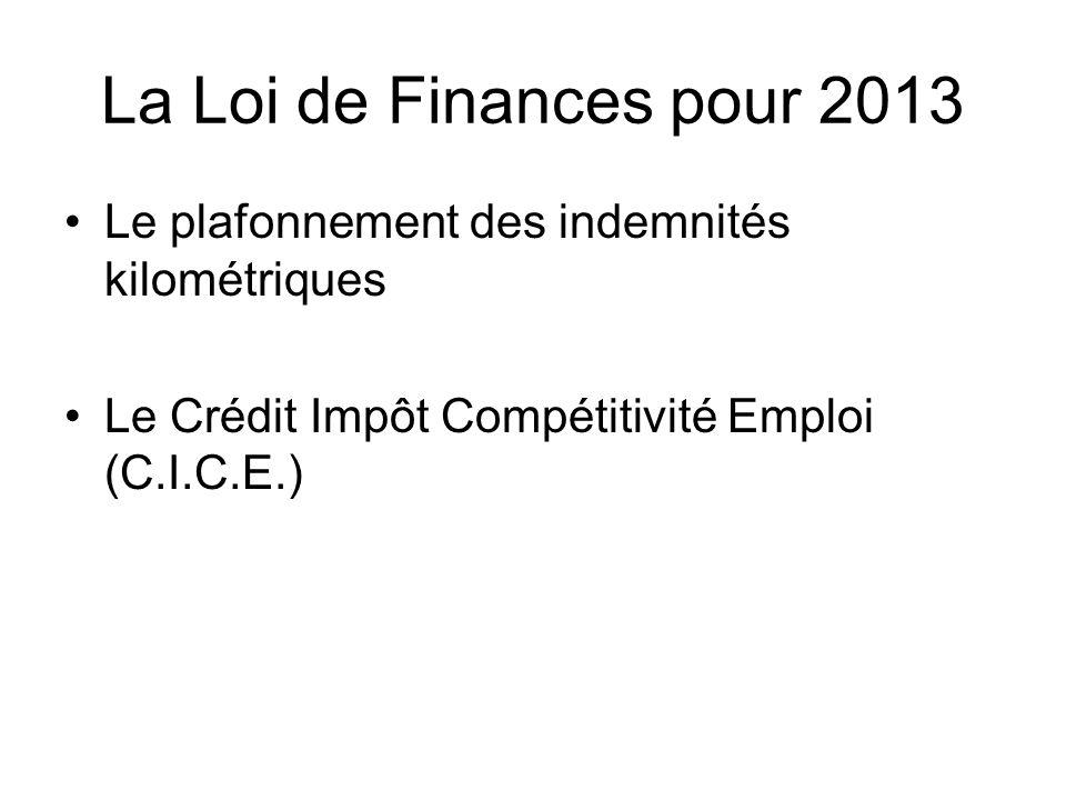 La Loi de Finances pour 2013 Le plafonnement des indemnités kilométriques Le Crédit Impôt Compétitivité Emploi (C.I.C.E.)