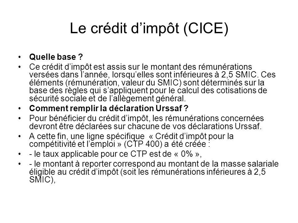 Le crédit dimpôt (CICE) Quelle base .