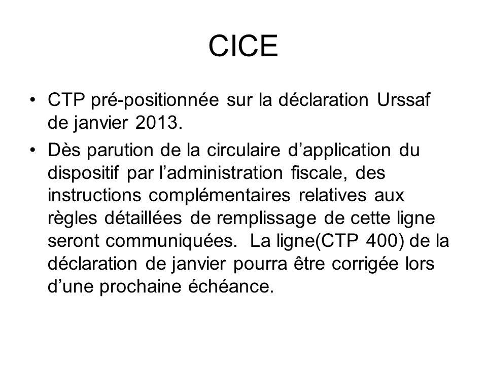 CICE CTP pré-positionnée sur la déclaration Urssaf de janvier 2013.