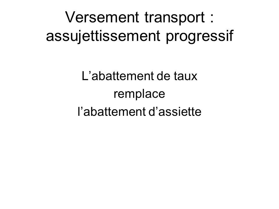 Versement transport : assujettissement progressif Labattement de taux remplace labattement dassiette