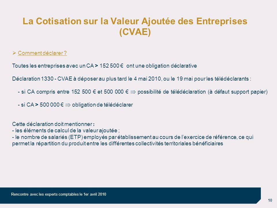 10 Rencontre avec les experts comptables le 1er avril 2010 La Cotisation sur la Valeur Ajoutée des Entreprises (CVAE) Comment déclarer ? Toutes les en