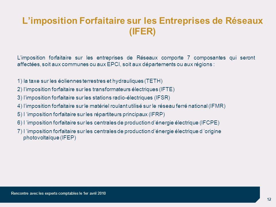 12 Rencontre avec les experts comptables le 1er avril 2010 Limposition Forfaitaire sur les Entreprises de Réseaux (IFER) Limposition forfaitaire sur l