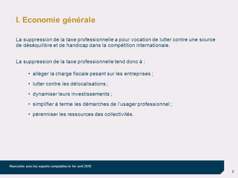 2 Rencontre avec les experts comptables le 1er avril 2010 I. Economie générale La suppression de la taxe professionnelle a pour vocation de lutter con