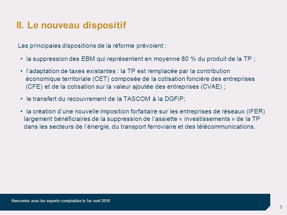 3 Rencontre avec les experts comptables le 1er avril 2010 II. Le nouveau dispositif Les principales dispositions de la réforme prévoient : la suppress