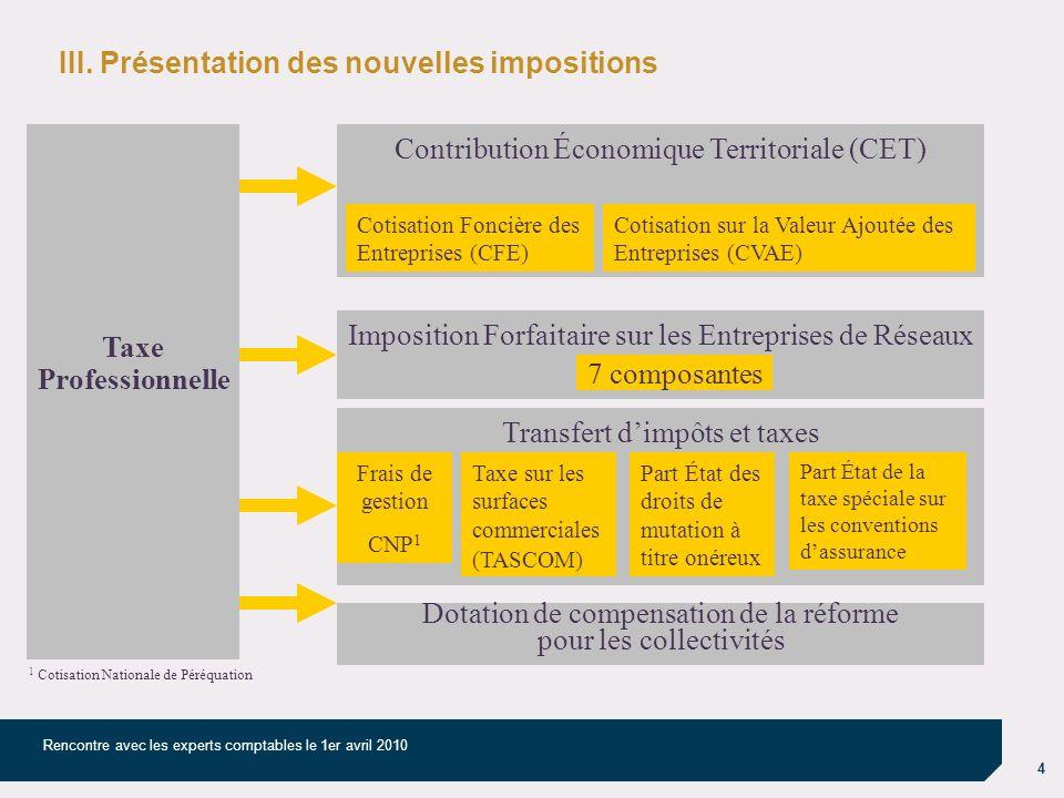 4 Rencontre avec les experts comptables le 1er avril 2010 III. Présentation des nouvelles impositions Taxe Professionnelle Contribution Économique Ter