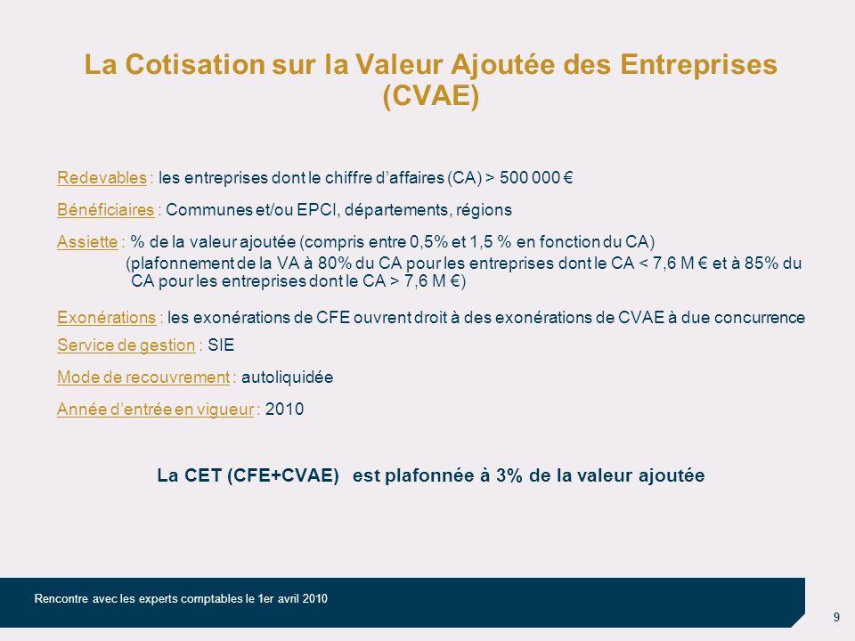 9 Rencontre avec les experts comptables le 1er avril 2010 La Cotisation sur la Valeur Ajoutée des Entreprises (CVAE) Redevables : les entreprises dont