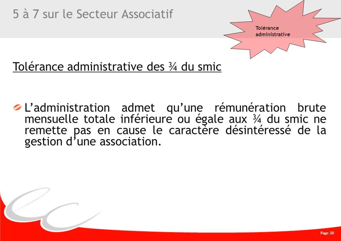 Page 20 CREATIVE WORK 5 à 7 sur le Secteur Associatif Tolérance administrative des ¾ du smic Ladministration admet quune rémunération brute mensuelle