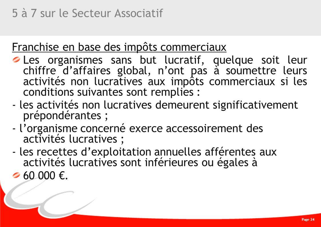 Page 24 CREATIVE WORK 5 à 7 sur le Secteur Associatif Franchise en base des impôts commerciaux Les organismes sans but lucratif, quelque soit leur chi