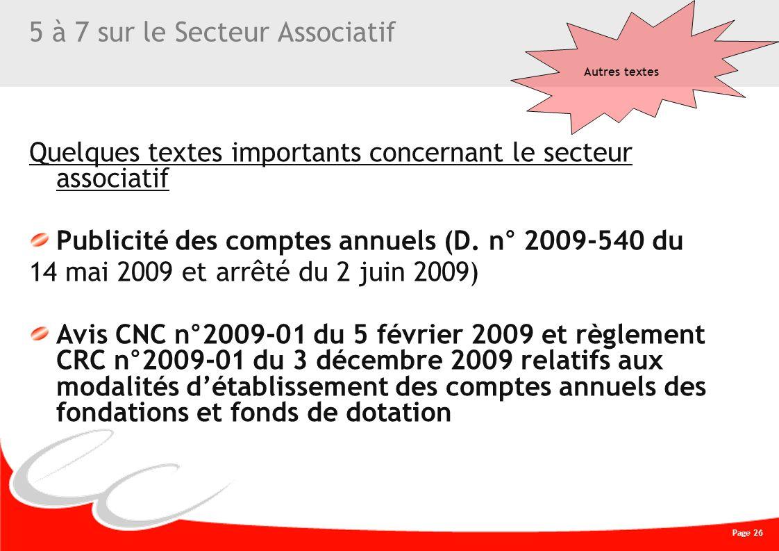 Page 26 CREATIVE WORK 5 à 7 sur le Secteur Associatif Quelques textes importants concernant le secteur associatif Publicité des comptes annuels (D. n°