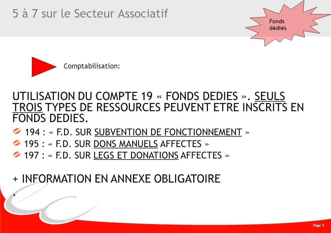 Page 5 CREATIVE WORK 5 à 7 sur le Secteur Associatif UTILISATION DU COMPTE 19 « FONDS DEDIES ». SEULS TROIS TYPES DE RESSOURCES PEUVENT ETRE INSCRITS