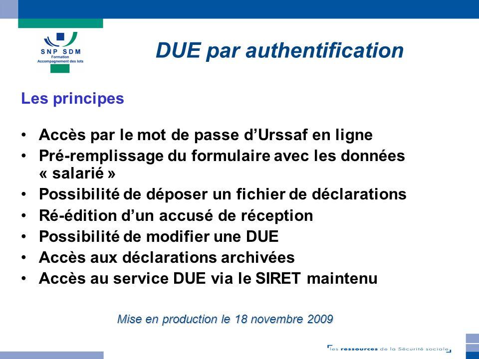 TELEDEP 3.3.1 DUE par authentification Les principes Accès par le mot de passe dUrssaf en ligne Pré-remplissage du formulaire avec les données « salar