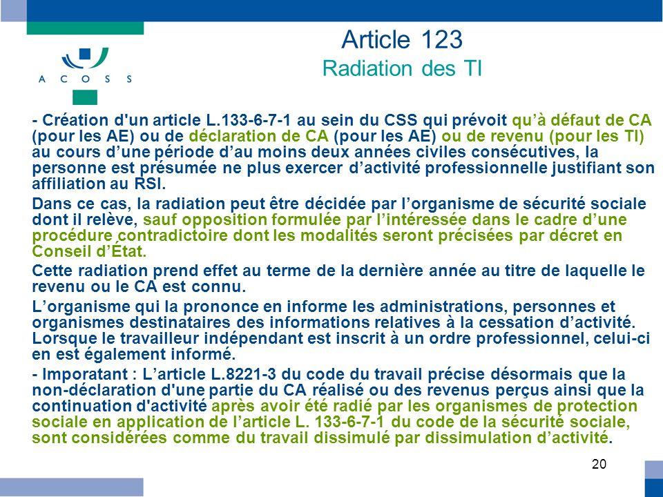 20 - Création d'un article L.133-6-7-1 au sein du CSS qui prévoit quà défaut de CA (pour les AE) ou de déclaration de CA (pour les AE) ou de revenu (p