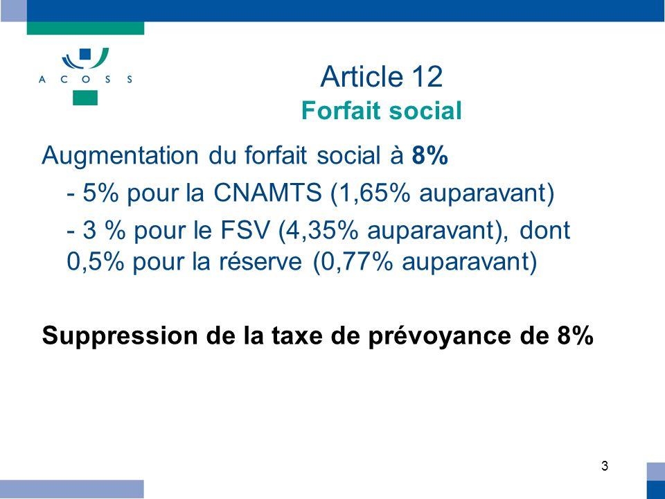 3 Article 12 Forfait social Augmentation du forfait social à 8% - 5% pour la CNAMTS (1,65% auparavant) - 3 % pour le FSV (4,35% auparavant), dont 0,5%